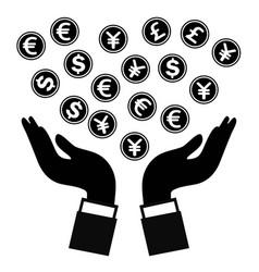 hands holding money vector image