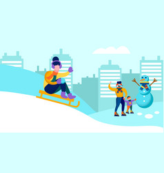 Happy family having fun together winter banner vector