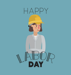 happy labor day card with woman builder vector image