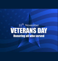 Happy veterans day 11th november honoring all vector
