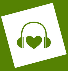 headphones with heart white icon obtained vector image vector image