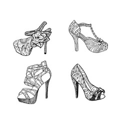 High-heeled shoes for woman fashion footwear vector