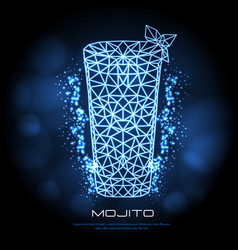 hipster polygonal cocktail mojito neon sign vector image