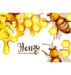 honeycomb and bees watercolor template vector image