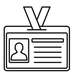 Id badge icon outline style vector