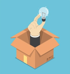Isometric hand holding light bulb of idea sticking vector image