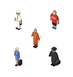 Isometric people set of seaman cleaner detective vector