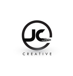 Jc brush letter logo design creative brushed vector