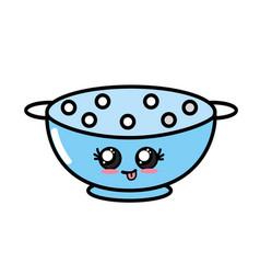 Kawaii cute funny colander utensil vector