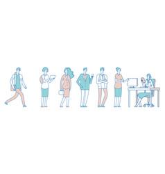 long queue people men women in social institution vector image