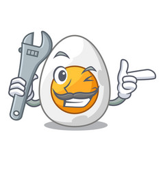 Mechanic freshly boiled egg isolated on mascot vector