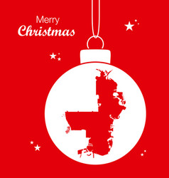 merry christmas theme with map of saint vector image
