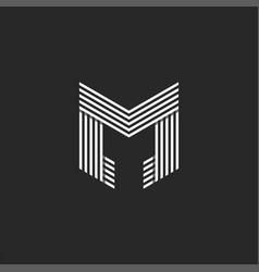Monogram letter m logo initial black and white vector