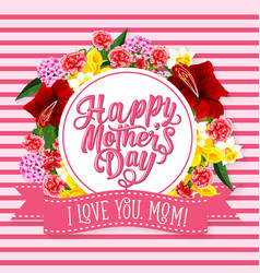 Mother day greeting card with spring flower frame vector