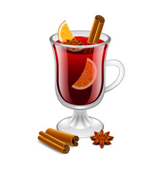 Mulled wine glass isolated on white vector