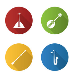 musical instruments flat design long shadow glyph vector image