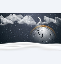 new year poster with clock and christmas snow vector image