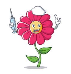 Nurse pink flower character cartoon vector