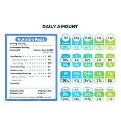 nutrition information ingredient labels food vector image