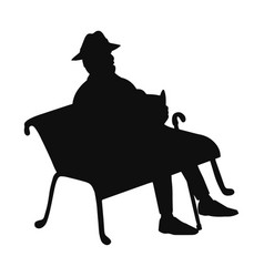 Old man sitting on a park bench reading a book vector