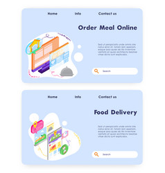 Order meal online food fast delivery app vector
