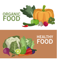 Organic food healthy nutrition brochure vector