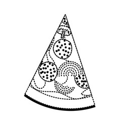Pizza slice in black dotted silhouette on white vector
