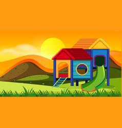playground scene at sunset vector image
