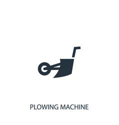 Plowing machine icon simple gardening element vector