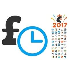 Pound Credit Icon With 2017 Year Bonus Symbols vector
