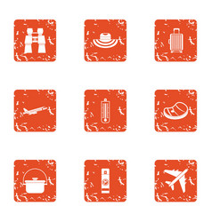 Prepare to rest icons set grunge style vector