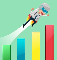 Rocketteer Flying Stock Market Graph vector image