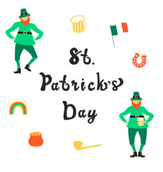 saint patrick day lettering with flat leprechauns vector image