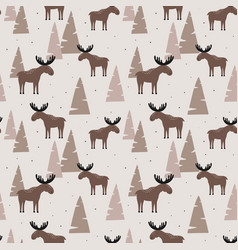 Seamless pattern with elk in a wood vector
