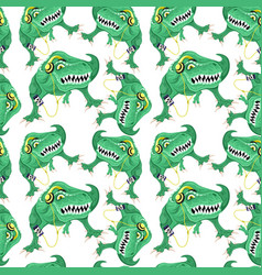 Seamless pattern with green dinosaurs vector