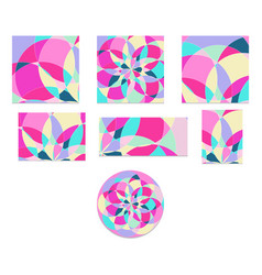set abstract pattern with multi-colored parts vector image