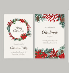 Set of christmas flyer or party invitation vector