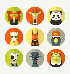 Set stylized animal avatar vector