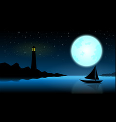 ship in the night of full moonblue ocean with vector image