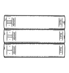 sketch - stack books vector image