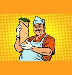 Smiling oriental street food chef kebab shawarma vector