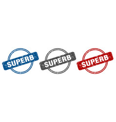Superb stamp superb sign superb label set vector