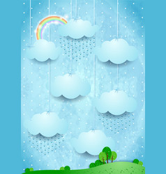 Surreal landscape with hanging clouds and rain vector