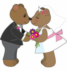 teddy wedding vector image