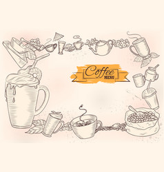 template different types coffee for menu vector image