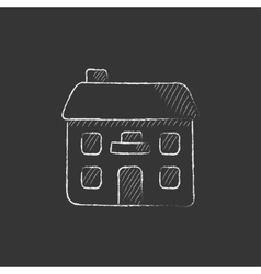 Two storey detached house Drawn in chalk icon vector