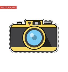 vintage camera flat design sticker vector image