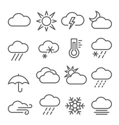 weather line icons set on white background vector image