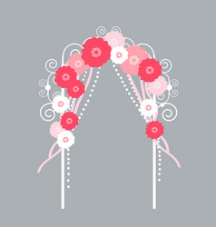 Wedding arch with flowers on grey background vector