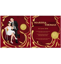 Wedding Chinese invitation with happiness text vector